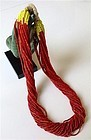Antique Micro Red and Yellow Hill Tribe Bead Necklace