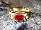 Octagonal Cut Ruby and Diamond Ring 18K. Gold