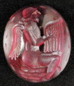 BACTRIAN  GARNET INTAGLIO Angel playing Lyra