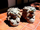 19th Cent. Rare MANDALAY Hand Carved Wooden Lions