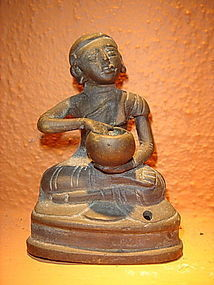 19th C. Bronze Disciple / Monk holding alms bowl Burma
