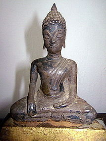 Rare Silver Alloy AYUTHAYA BUDDHA, Subduing Mara