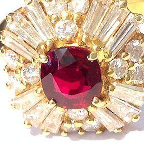 BALLERINA RUBY & DIAMOND RING, 18K. GOLD