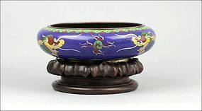 CHING DYNASTY CLOISONNE BLUE DRAGON BOWL