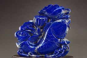 NATURAL HIGH GRADE LAPIS LAZULI FISH AND LOTUS CARVING
