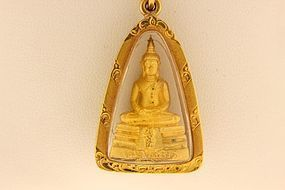 22K. YELLOW GOLD BUDDHA AMULET AND 14K. GOLD CHAIN