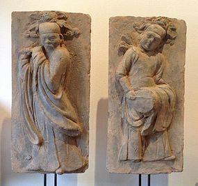 JIN DYNASTY SHANXI TOMB BRICKS OF FLUTIST & DRUMMER (1115-1234 AD)