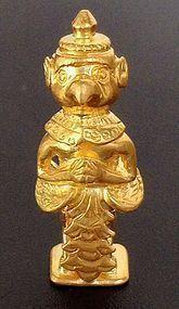 22K. GOLD ANCIENT KHMER STANDING MINIATURE GARUDA
