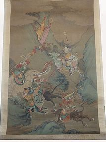 FINE CHINESE ANTIQUE SCROLL DEPICTING HUNTERS & MYSTICAL BEASTS