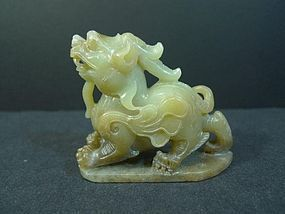 ANTIQUE CHINESE CELADON GREEN JADE CARVED CHIMERA BEAST 19TH CENTURY