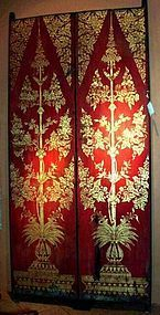 PAIR OF ANTIQUE THAI GILDED WOODEN TEMPLE DOORS, 19th Century