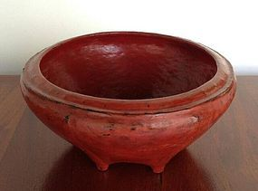 Antique Cinnabar Red Lacquer Basket, 19th Century, Northern Thailand