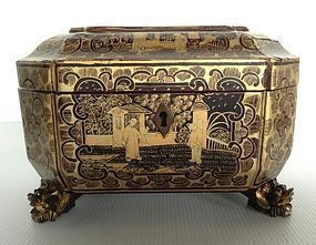 OCTOGONAL GOLD-BLACK LACQUER QING DYNASTY CHINESE EXPORT TEA CADDY