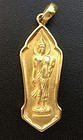 SOLID GOLD THAI BUDDHA AMULET WITH FRAMED GOLD CASING AND LOOP