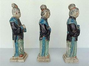 3 MING DYNASTY POLYCHROME TOMB POTTERY COURT LADIES