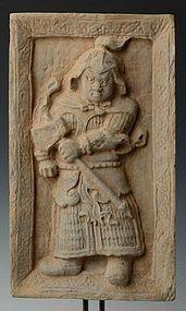 JIN DYNASTY SHANXI TOMB BRICK  OF WARRIOR, CHINA (1115-1234 A.D.)