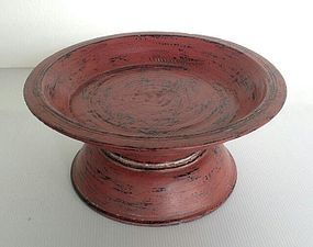 Medium Cinnabar Red Lacquer Offering Tray, 19th Century, Thailand