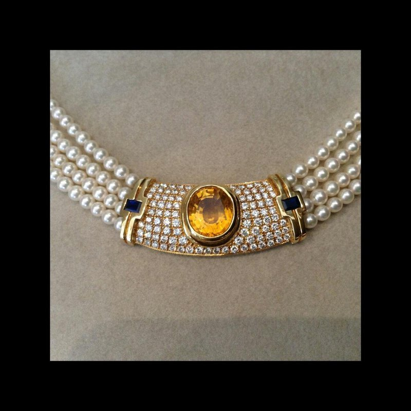 Elegant Pearl Necklace with Diamonds & Yellow and Blue Sapphires