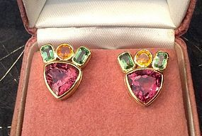 TOURMALINE, YELLOW SAPPHIRE & GREEN GARNET EARRINGS 18K. GOLD