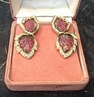 UNIQUE 18K.  2-TONE TOURMALINE (PINK & GREEN) EARRINGS WITH DIAMONDS