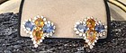 2-TONE SAPPHIRE EARRINGS (YELLOW & BLUE GENUINE SAPPHIRES) 18K. GOLD