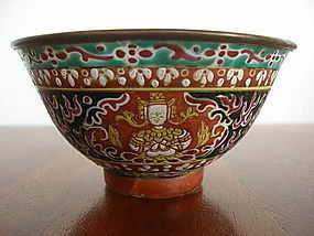 BENJARONG THAI PORCELAIN BOWL, LATE 18th/19th CENTURY