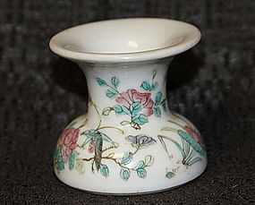 RARE QING DYNASTY FAMILLE ROSE PORCELAIN OPIUM DROSS/ASH RECIPIENT