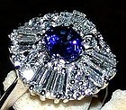 18K. WHITE GOLD BALLERINA RING WITH  BLUE SAPPHIRE & DIAMONDS