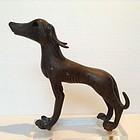 RARE 19th CENTURY SOLID BRONZE WINDHOUND DOG SCULPTURE