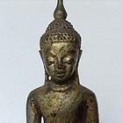 SILVER ALLOY AVA BUDDHA 17/18TH CENTURY, GOLD PATINA