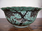 REPAIRED GENUINE GUANGXU DAYAZAI PORCELAIN TURQUOISE-BLACK BOWL