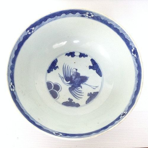 CHINESE BLUE & WHITE PORCELAIN BOWL WITH SHOU LAO RIDING ON CRANE