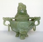 FINELY CARVED  CHINESE GREEN JADEITE JADE CENSER, 19th Century