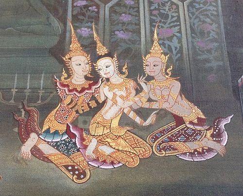 ORIGINAL ACRYLIC PAINTING BY FAMED ARTIST HATTHAI BUNNAG,BUSABA & INAU