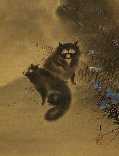 ANTIQUE SCROLL DEPICTING 2 JAPANESE RACOON DOGS (TANUKI), SIGNED/SEAL
