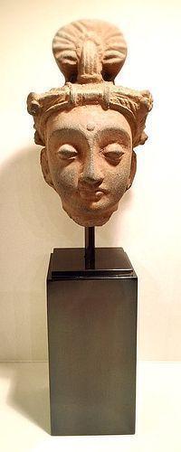FINE GANDHARA SCHIST HEAD OF A BODHISATTVA WITH DIADEM, 2-4 AD MOUNTED