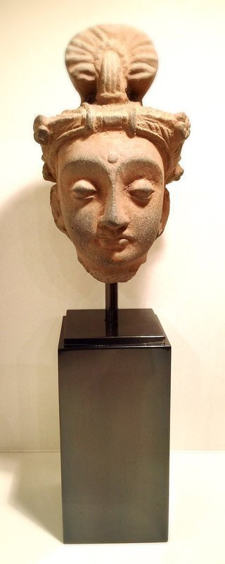 FINE GANDHARA SCHIST HEAD OF A BODHISATTVA WITH DIADEM, 2-4 AD MOUNTED