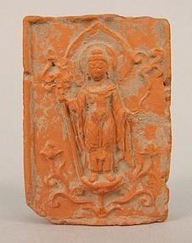 RARE TANG DYNASTY TSA-TSA BUDDHIST AMITABHA VOTIVE TABLET