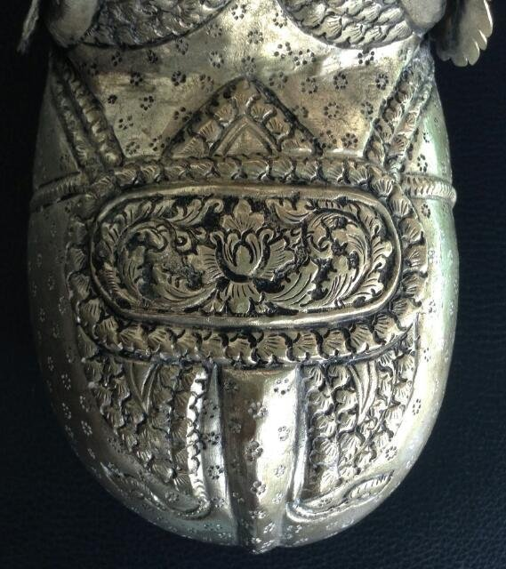 LARGE CAMBODIAN SILVER REPOUSSE ELEPHANT BOX