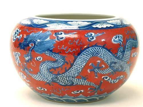 CHINESE IRON RED, BLUE & WHITE PORCELAIN DRAGON JAR, KANGXI MARK