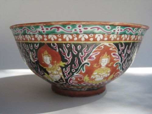 ANTIQUE THAI  BENJARONG BOWL WITH THEPANOM & NORASING DECOR,19TH CENT.