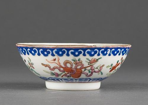 CHINESE TONG-ZHI POLYCHROME PORCELAIN BOWL WITH BUDDHIST SYMBOLS