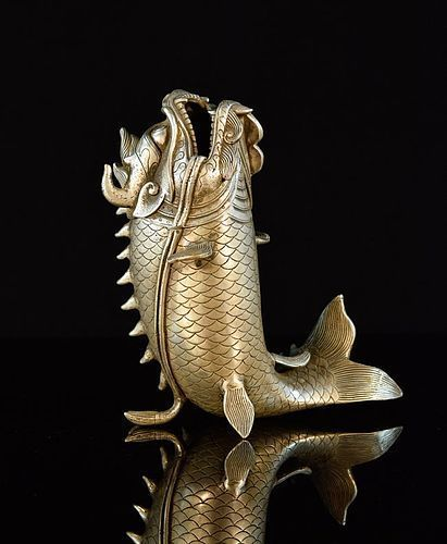 TAISHO JAPANESE SILVERED BRONZE FISH
