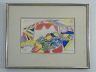 SIGNED ORIGINAL YASSE TABUCHI WATERCOLOR, 1967, FRAMED & MATTED