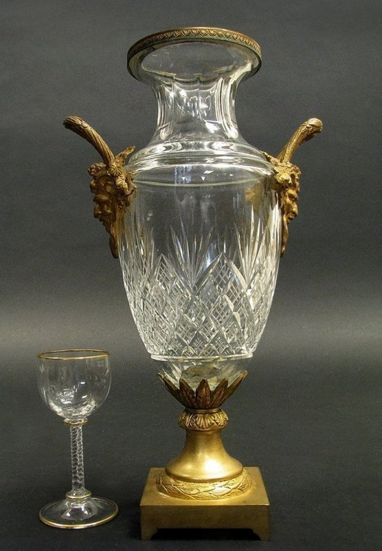 GENUINE FRENCH BACCARAT CRYSTAL & BRONZE VASE