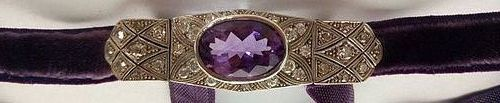 ART DECO CHOKER 18K GOLD WITH GENUINE DIAMONDS/AMETHYST