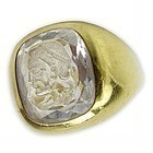 RARE BRIOLETTE CUT CRYSTAL INTAGLIO MAN'S RING IN 18K. GOLD, ITALY