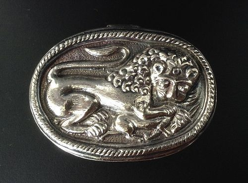OVAL HANDMADE HINGED SILVER BOX WITH LION, INDIA