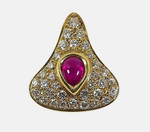 STRIKING 18K. GOLD PENDANT WITH GENUINE RUBY & DIAMONDS