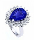 GENUINE 4.28 CT. TOP TANZANITE/DIAMOND RING SET IN 18K. WHITE GOLD